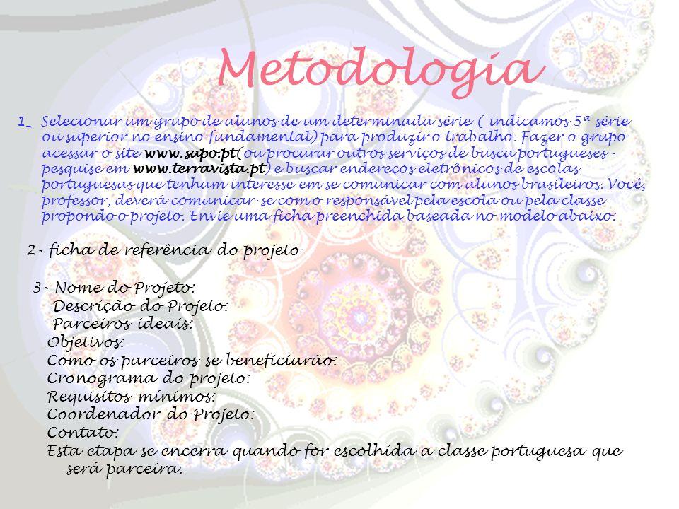 Metodologia 2- ficha de referência do projeto 3- Nome do Projeto: