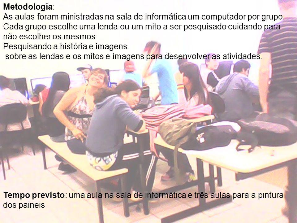 Metodologia: As aulas foram ministradas na sala de informática um computador por grupo.