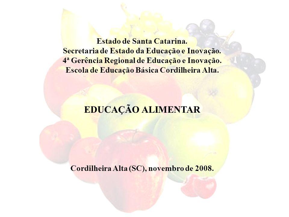 EDUCAÇÃO ALIMENTAR Estado de Santa Catarina.