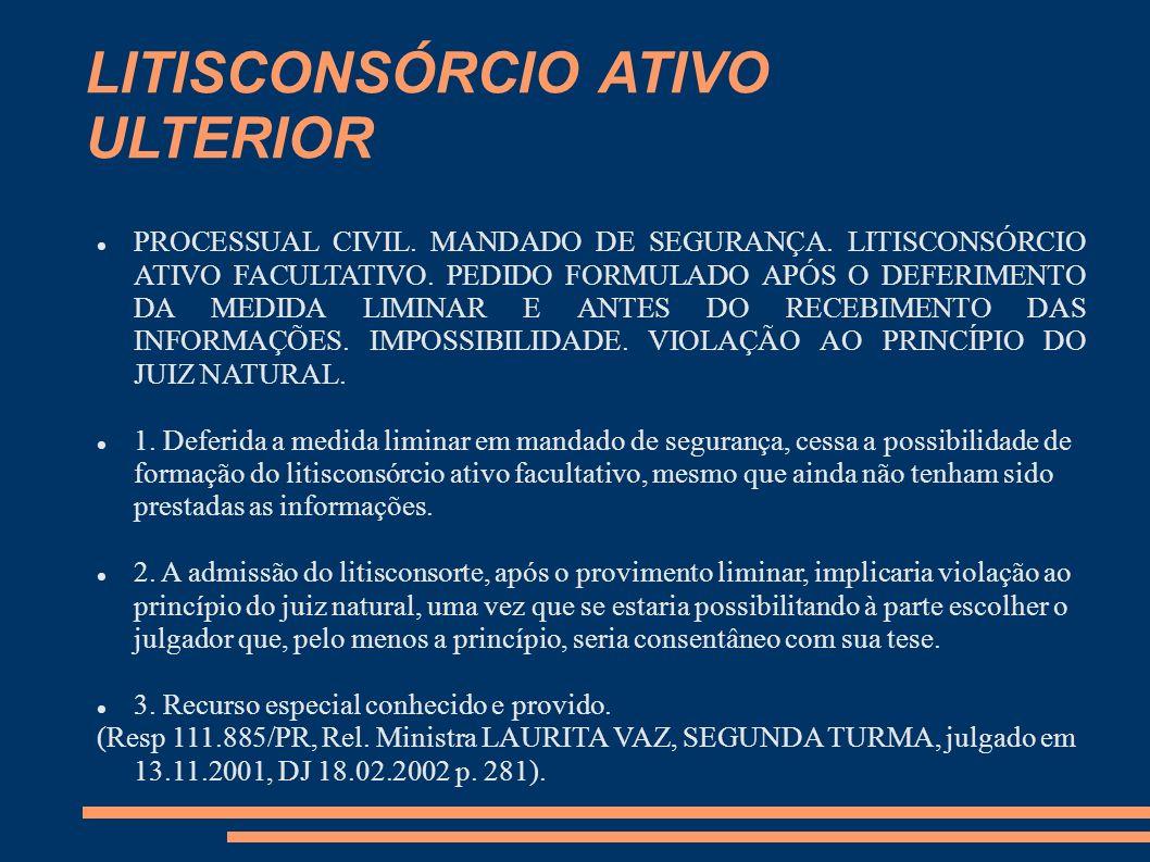 LITISCONSÓRCIO ATIVO ULTERIOR