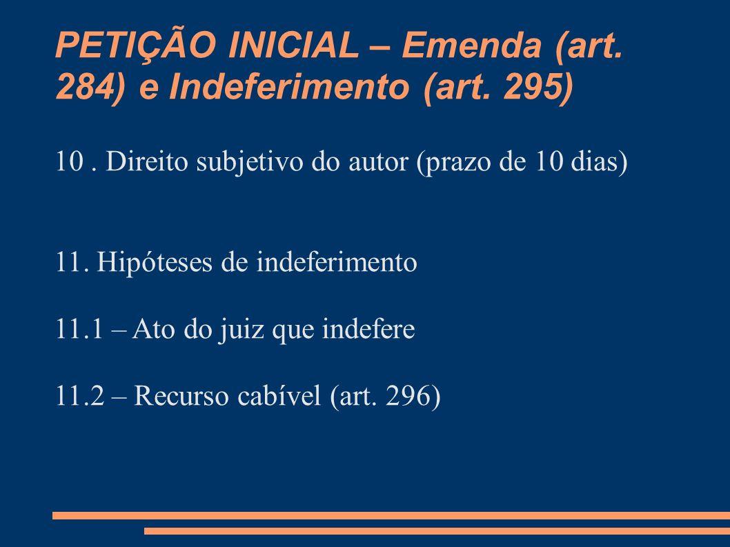 PETIÇÃO INICIAL – Emenda (art. 284) e Indeferimento (art. 295)