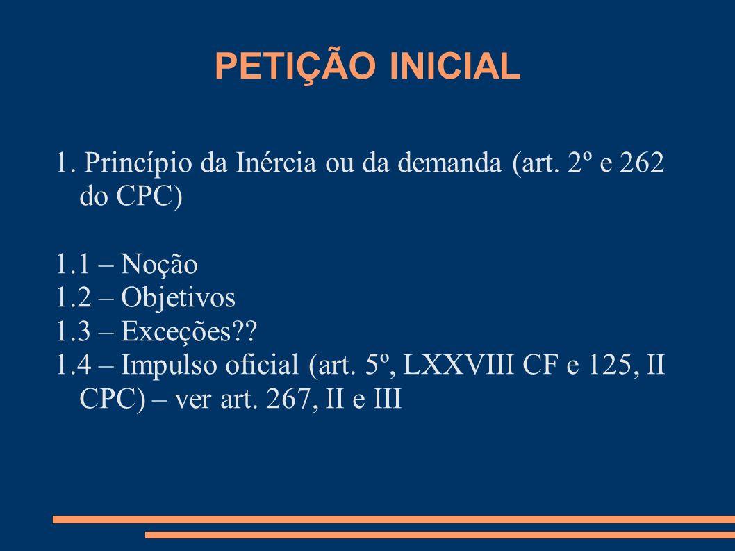 PETIÇÃO INICIAL 1. Princípio da Inércia ou da demanda (art. 2º e 262 do CPC) 1.1 – Noção. 1.2 – Objetivos.