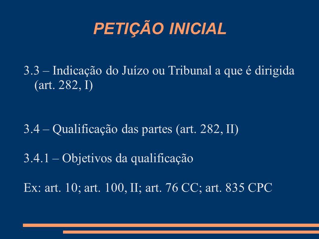PETIÇÃO INICIAL 3.3 – Indicação do Juízo ou Tribunal a que é dirigida (art. 282, I) 3.4 – Qualificação das partes (art. 282, II)