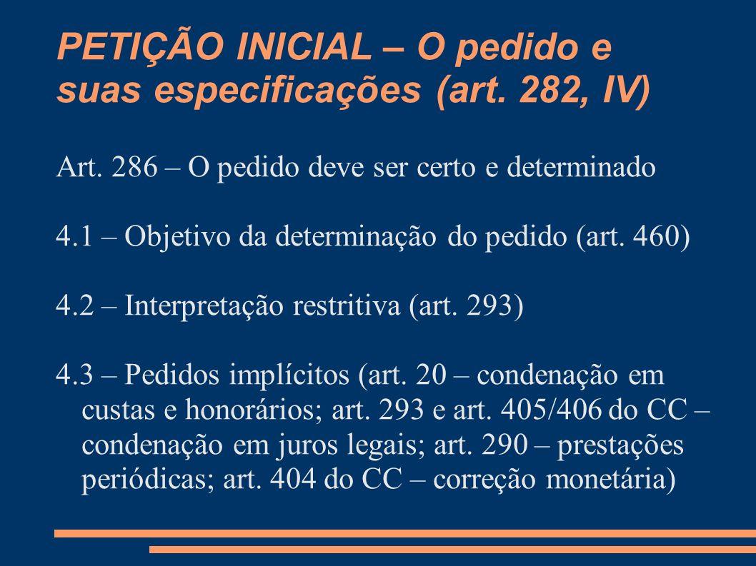 PETIÇÃO INICIAL – O pedido e suas especificações (art. 282, IV)