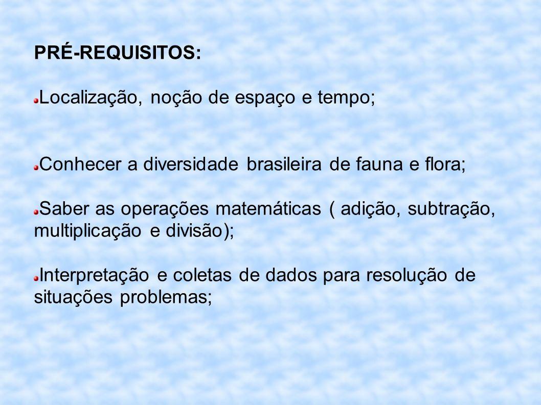 PRÉ-REQUISITOS: Localização, noção de espaço e tempo; Conhecer a diversidade brasileira de fauna e flora;
