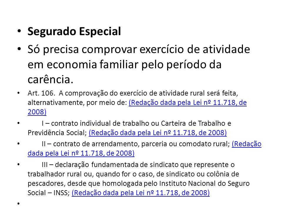 Segurado Especial Só precisa comprovar exercício de atividade em economia familiar pelo período da carência.