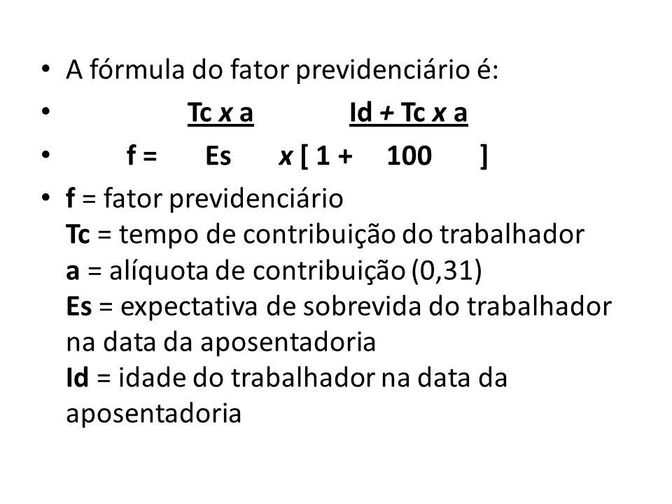 A fórmula do fator previdenciário é: