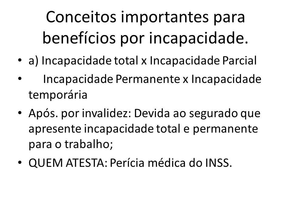 Conceitos importantes para benefícios por incapacidade.