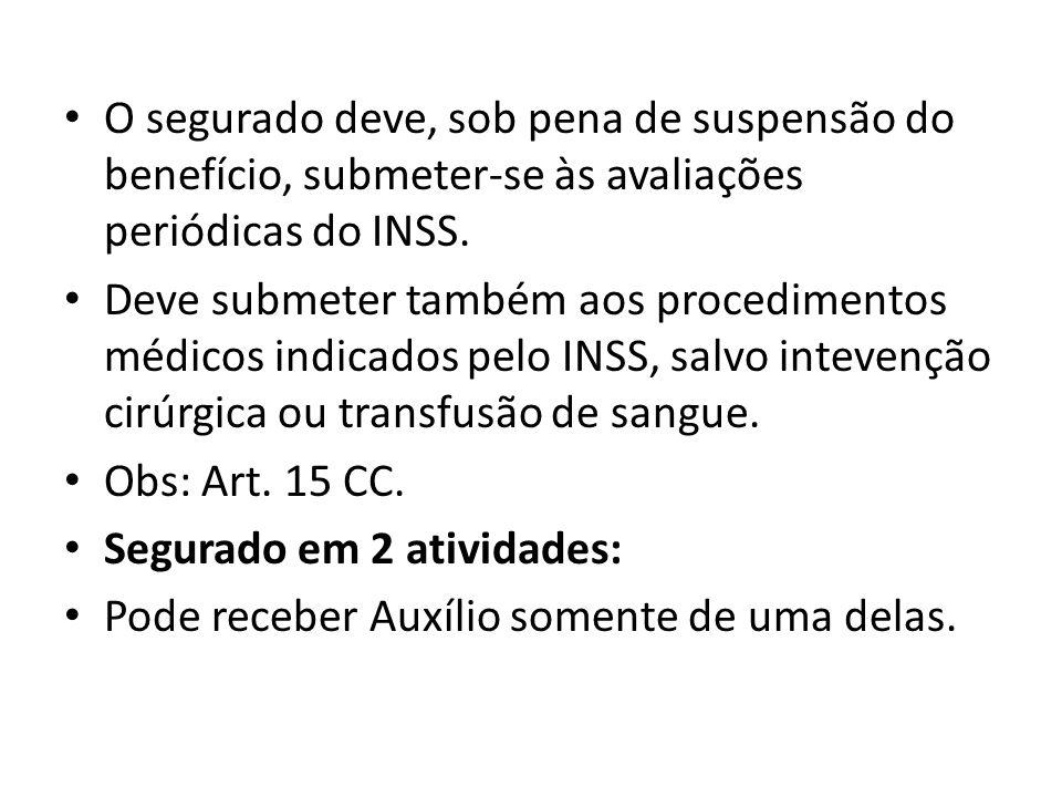 O segurado deve, sob pena de suspensão do benefício, submeter-se às avaliações periódicas do INSS.
