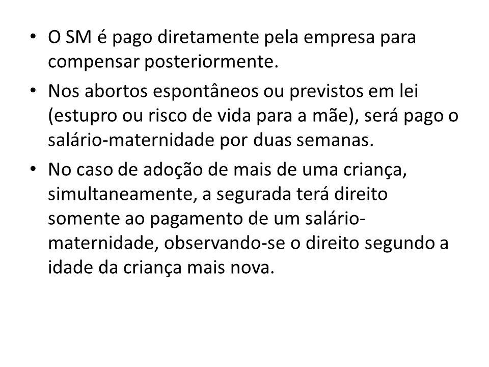 O SM é pago diretamente pela empresa para compensar posteriormente.