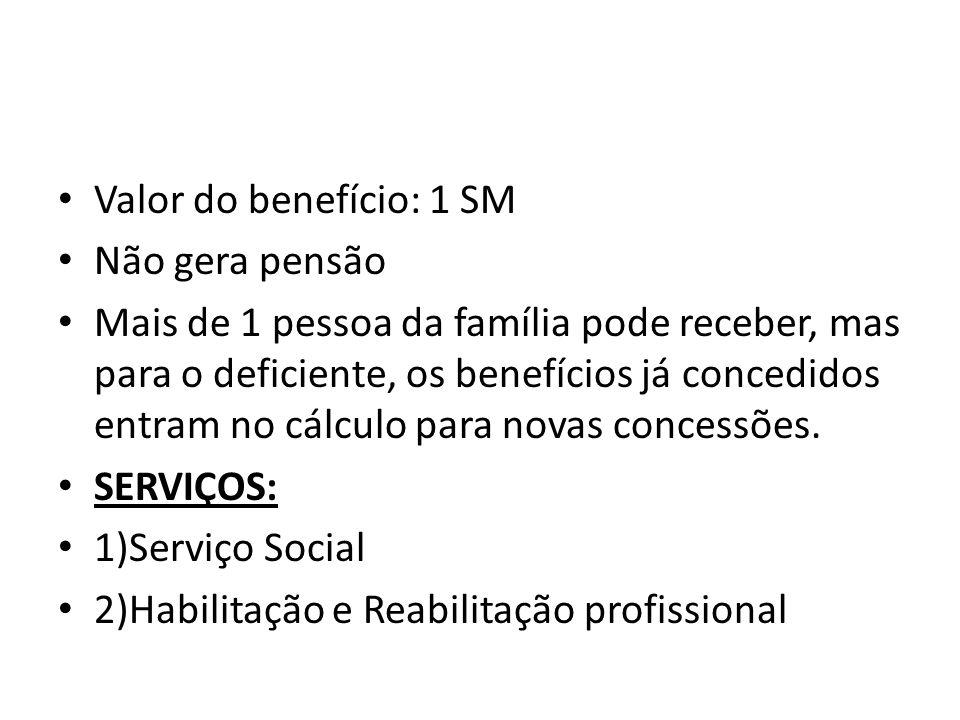 Valor do benefício: 1 SM Não gera pensão.