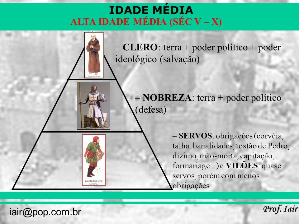 CLERO: terra + poder político + poder ideológico (salvação)