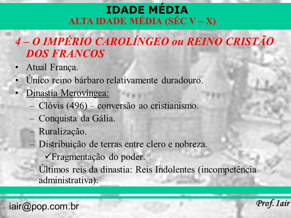 4 – O IMPÉRIO CAROLÍNGEO ou REINO CRISTÃO DOS FRANCOS