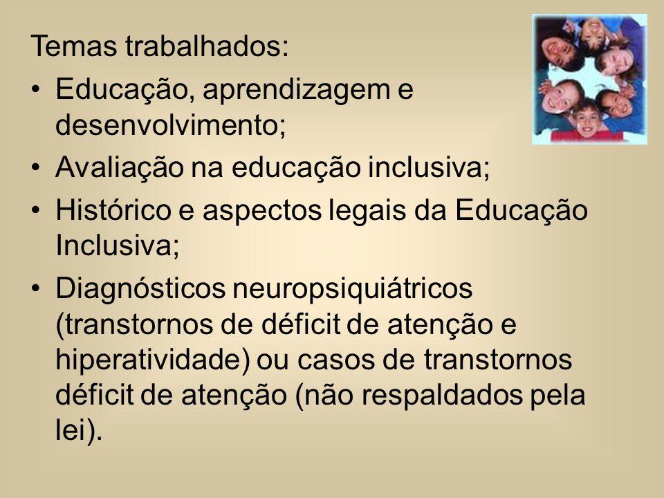Temas trabalhados: Educação, aprendizagem e desenvolvimento; Avaliação na educação inclusiva; Histórico e aspectos legais da Educação Inclusiva;
