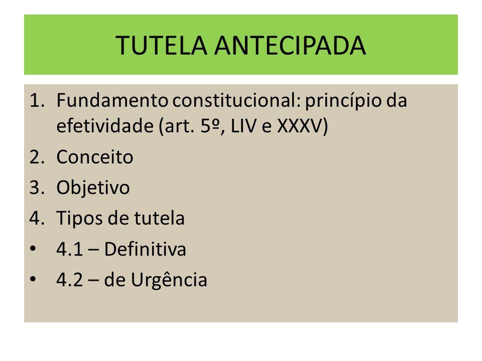 TUTELA ANTECIPADA Fundamento constitucional: princípio da efetividade (art. 5º, LIV e XXXV) Conceito.