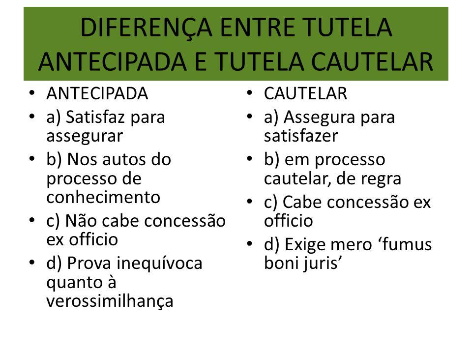 DIFERENÇA ENTRE TUTELA ANTECIPADA E TUTELA CAUTELAR