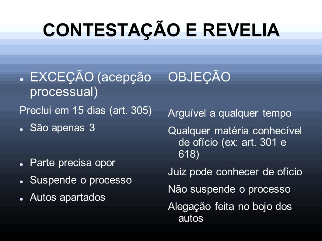 CONTESTAÇÃO E REVELIA EXCEÇÃO (acepção processual) OBJEÇÃO