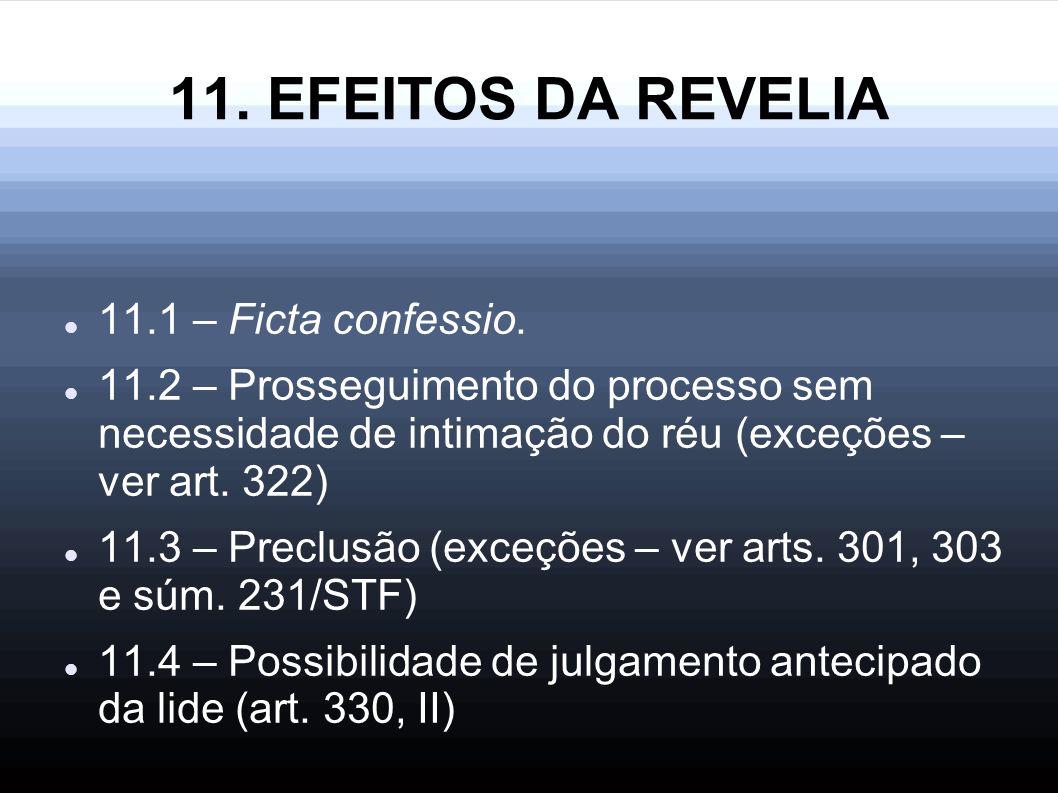 11. EFEITOS DA REVELIA 11.1 – Ficta confessio.