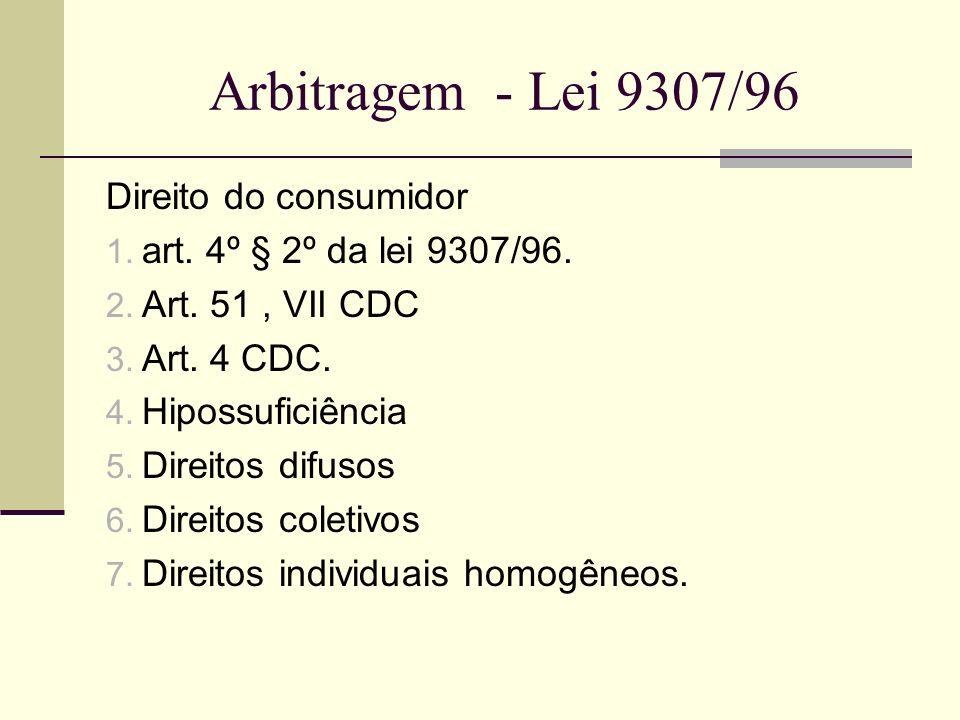 Arbitragem - Lei 9307/96 Direito do consumidor