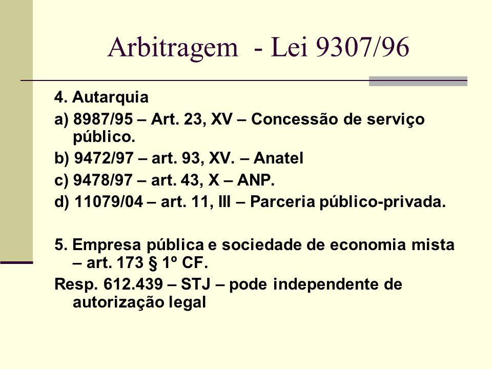 Arbitragem - Lei 9307/96 4. Autarquia