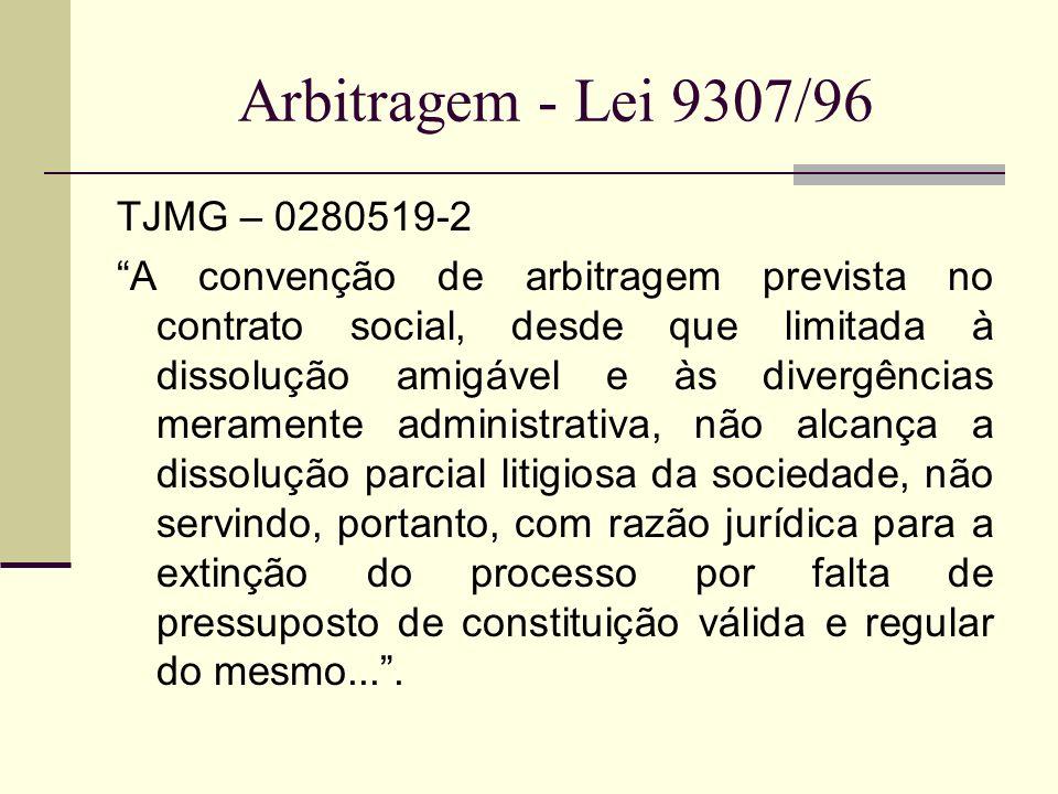 Arbitragem - Lei 9307/96 TJMG – 0280519-2