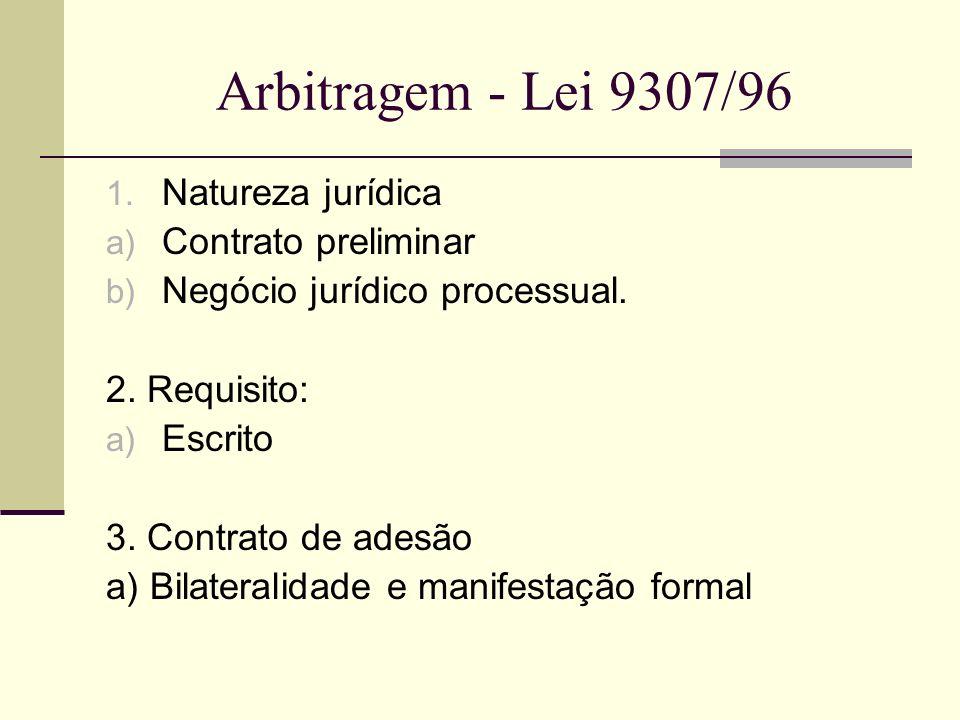 Arbitragem - Lei 9307/96 Natureza jurídica Contrato preliminar