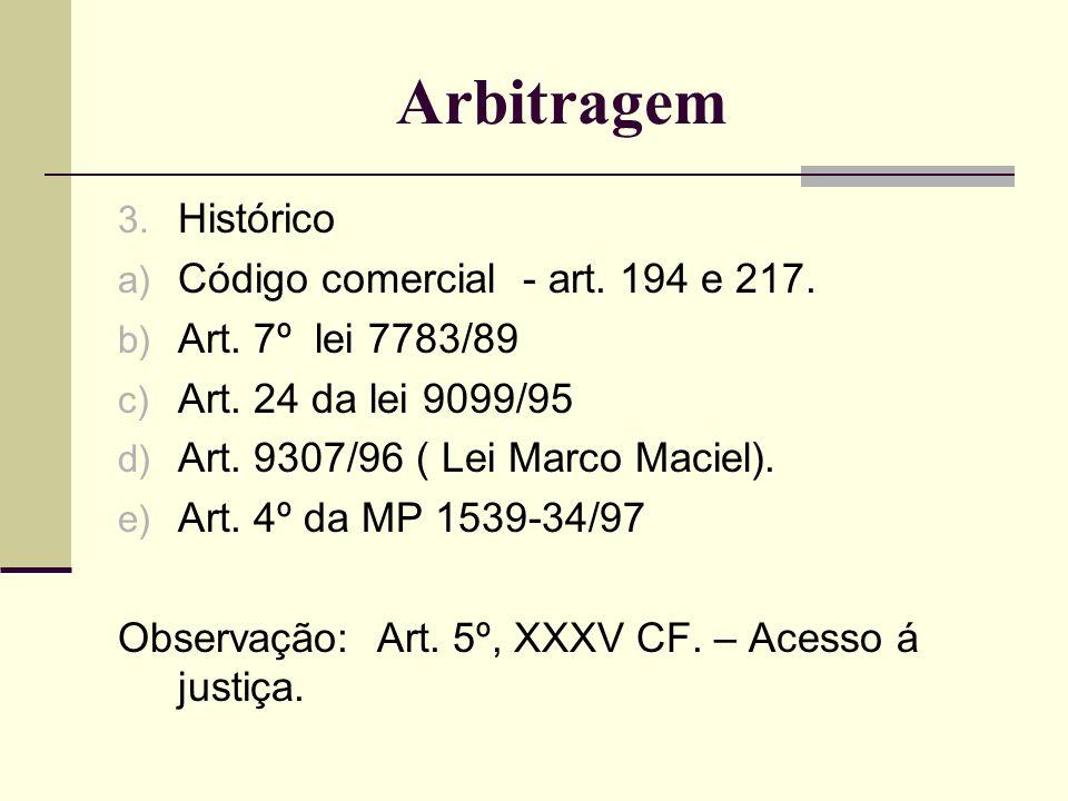 Arbitragem Histórico Código comercial - art. 194 e 217.