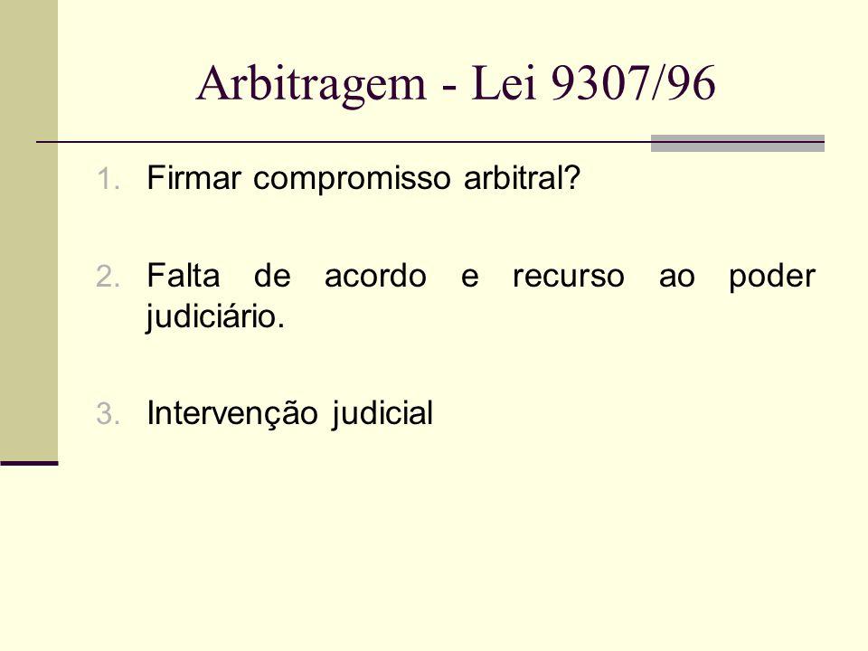 Arbitragem - Lei 9307/96 Firmar compromisso arbitral