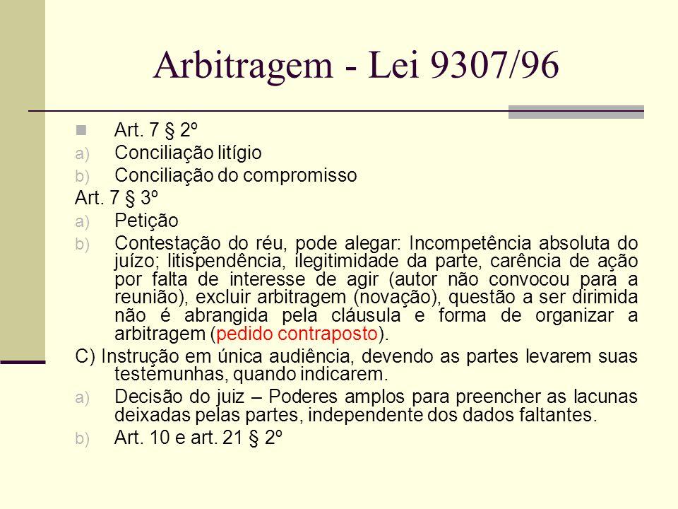 Arbitragem - Lei 9307/96 Art. 7 § 2º Conciliação litígio