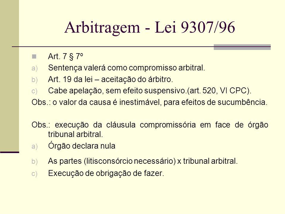 Arbitragem - Lei 9307/96 Art. 7 § 7º