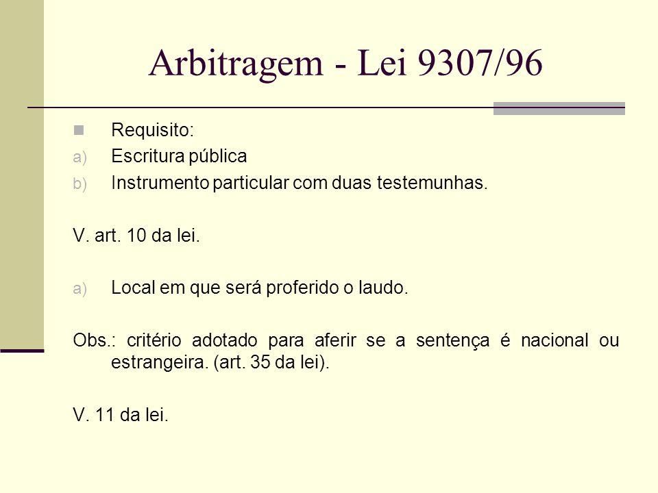 Arbitragem - Lei 9307/96 Requisito: Escritura pública