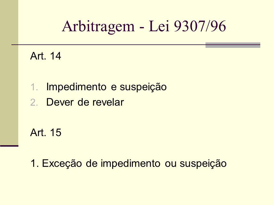 Arbitragem - Lei 9307/96 Art. 14 Impedimento e suspeição