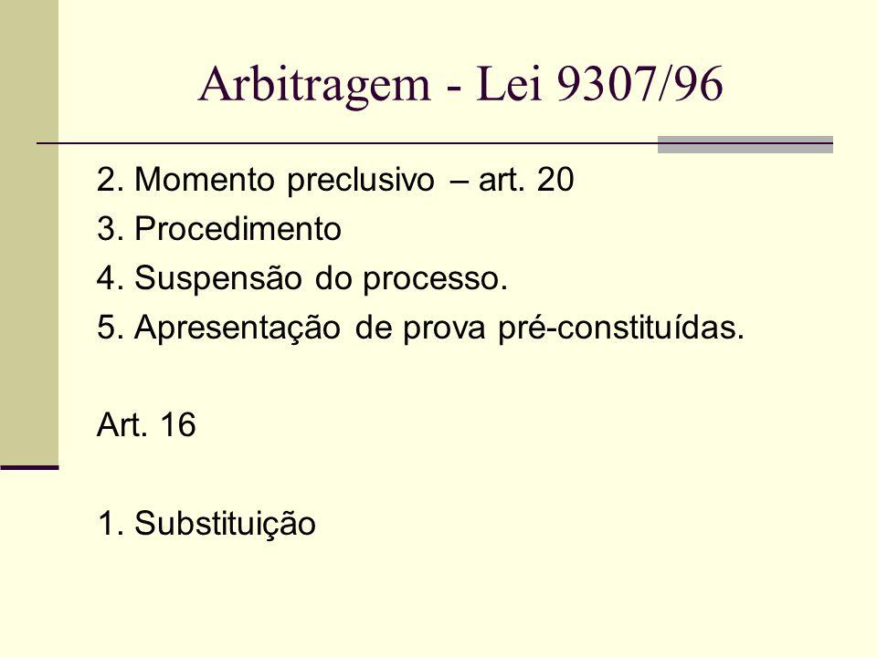 Arbitragem - Lei 9307/96 2. Momento preclusivo – art. 20