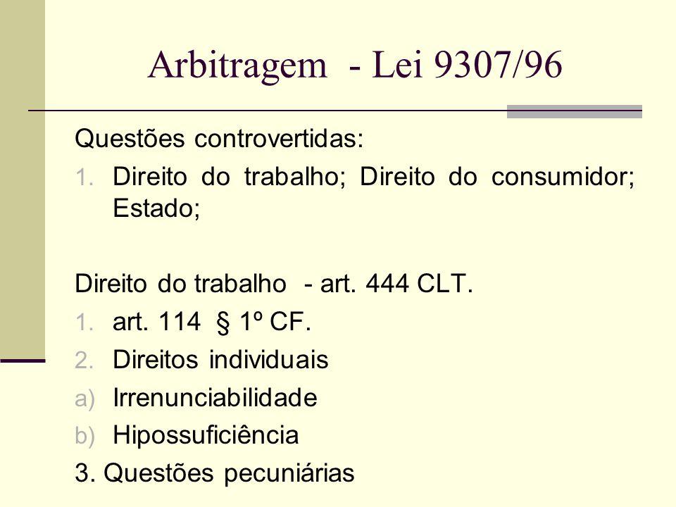 Arbitragem - Lei 9307/96 Questões controvertidas: