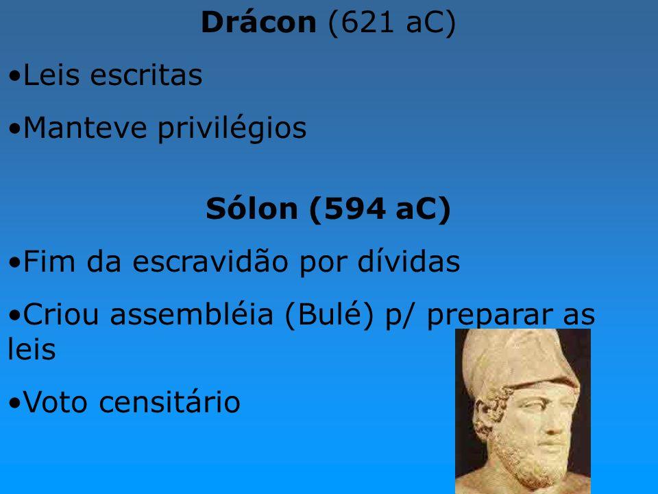 Drácon (621 aC)Leis escritas. Manteve privilégios. Sólon (594 aC) Fim da escravidão por dívidas. Criou assembléia (Bulé) p/ preparar as leis.