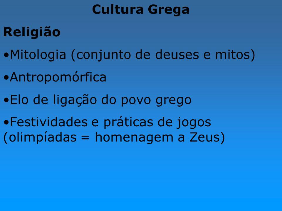 Cultura GregaReligião. Mitologia (conjunto de deuses e mitos) Antropomórfica. Elo de ligação do povo grego.