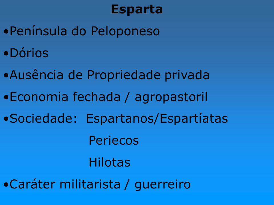 EspartaPenínsula do Peloponeso. Dórios. Ausência de Propriedade privada. Economia fechada / agropastoril.
