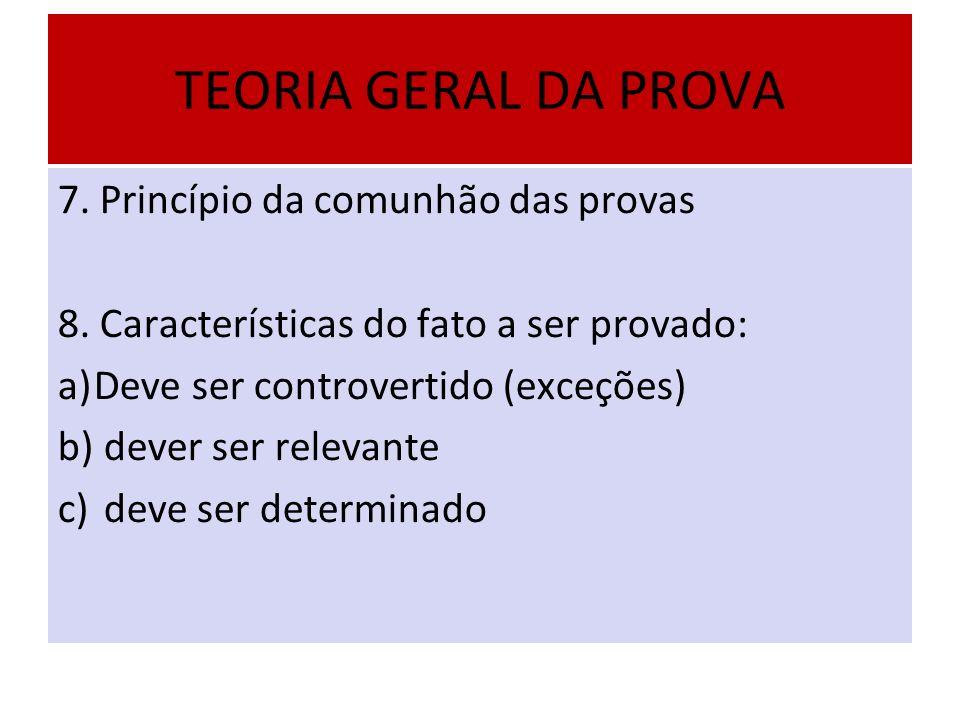 TEORIA GERAL DA PROVA 7. Princípio da comunhão das provas