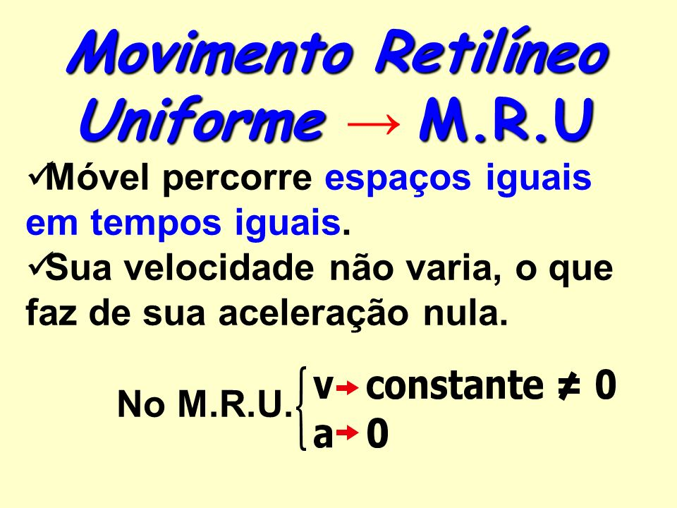 Movimento Retilíneo Uniforme → M.R.U