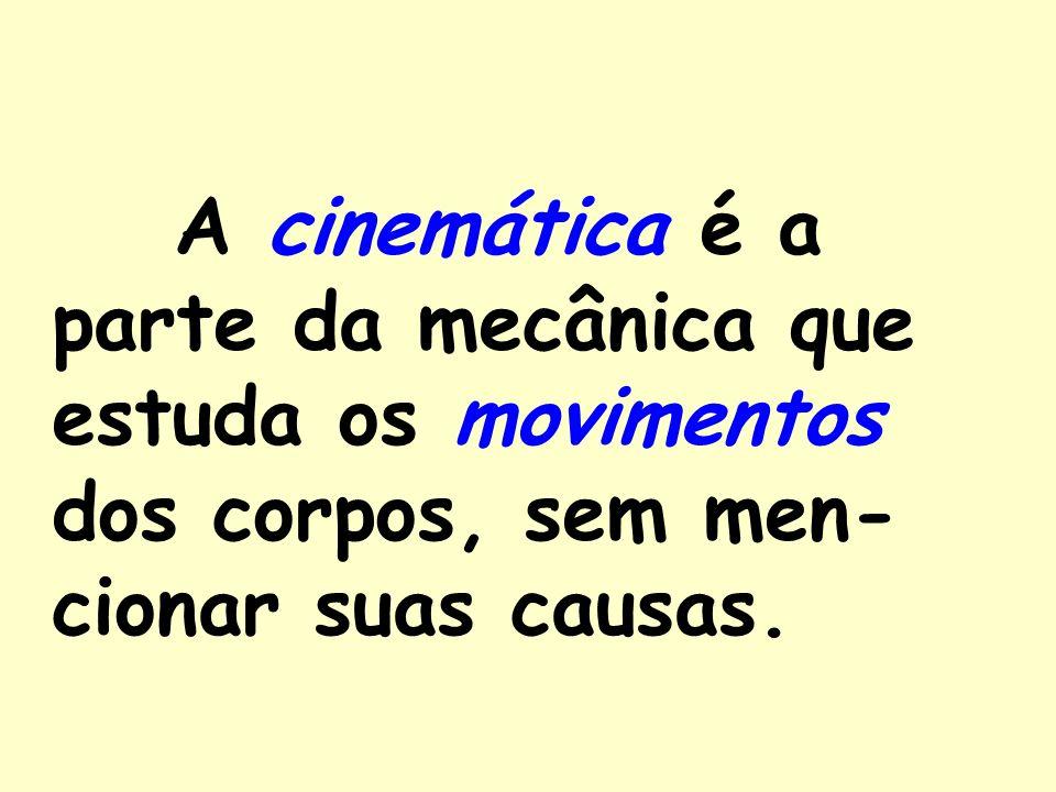 A cinemática é a parte da mecânica que estuda os movimentos dos corpos, sem men-cionar suas causas.