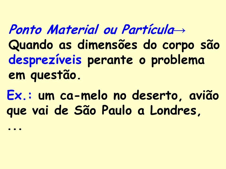 Ponto Material ou Partícula→ Quando as dimensões do corpo são desprezíveis perante o problema em questão.