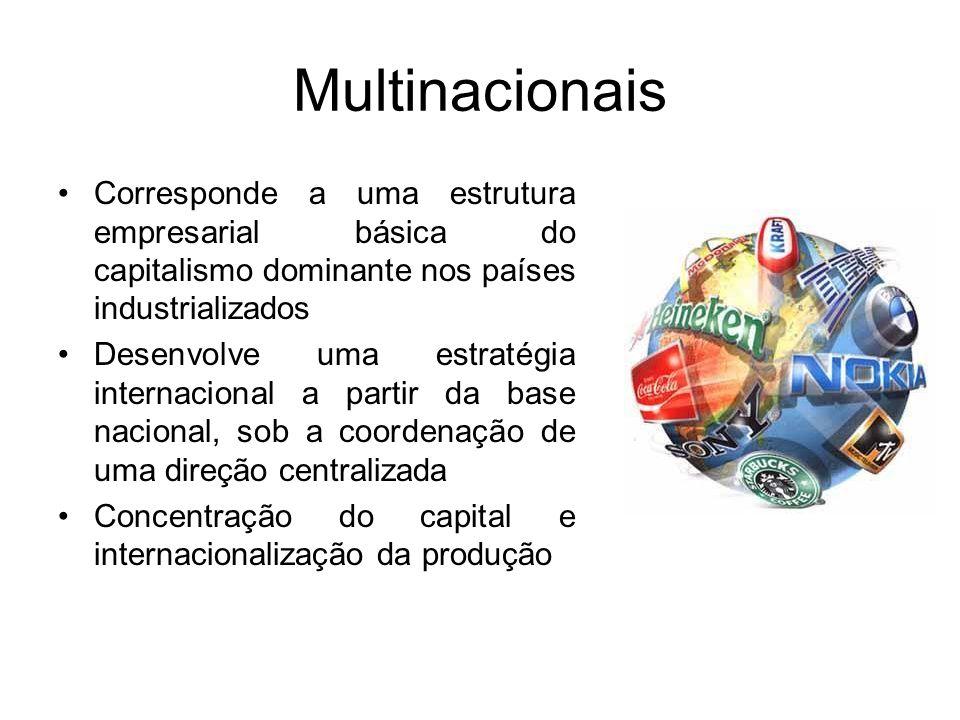 Multinacionais Corresponde a uma estrutura empresarial básica do capitalismo dominante nos países industrializados.