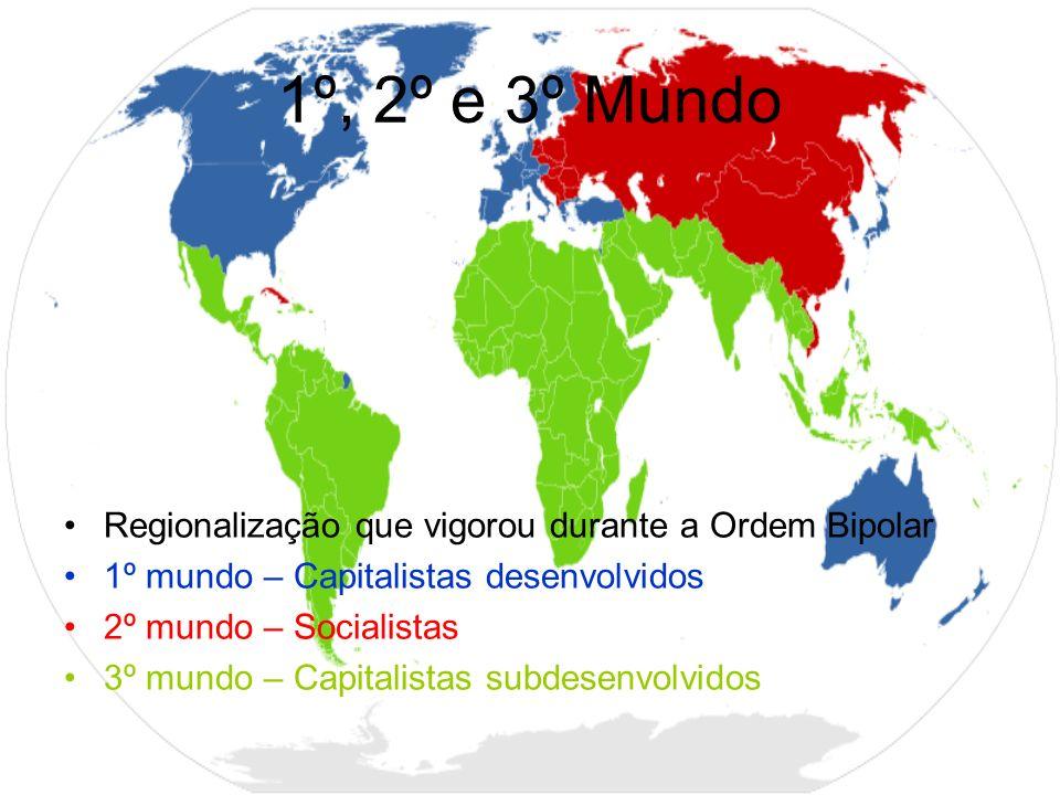 1º, 2º e 3º Mundo Regionalização que vigorou durante a Ordem Bipolar