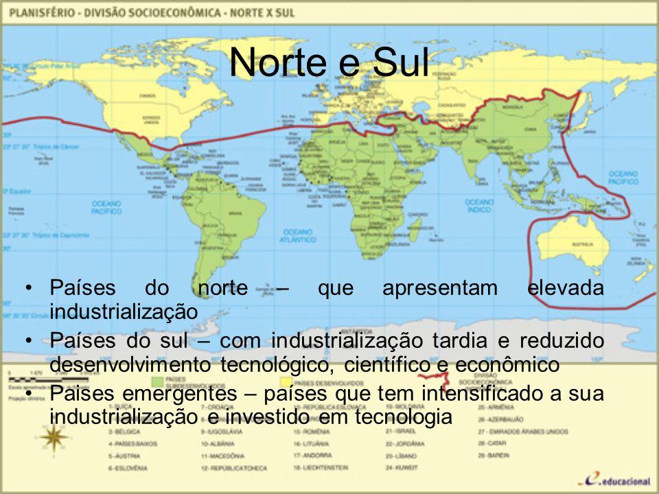 Norte e Sul Países do norte – que apresentam elevada industrialização