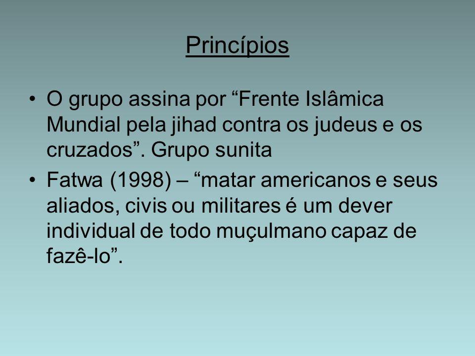 PrincípiosO grupo assina por Frente Islâmica Mundial pela jihad contra os judeus e os cruzados . Grupo sunita.