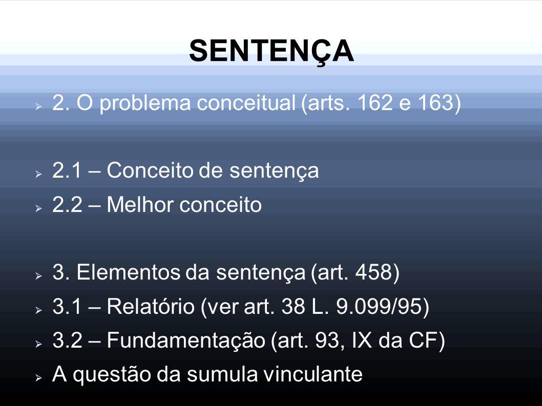 SENTENÇA 2. O problema conceitual (arts. 162 e 163)