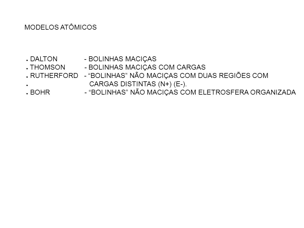 MODELOS ATÔMICOS DALTON - BOLINHAS MACIÇAS. THOMSON - BOLINHAS MACIÇAS COM CARGAS.