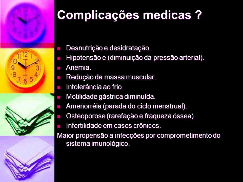 Complicações medicas Desnutrição e desidratação.