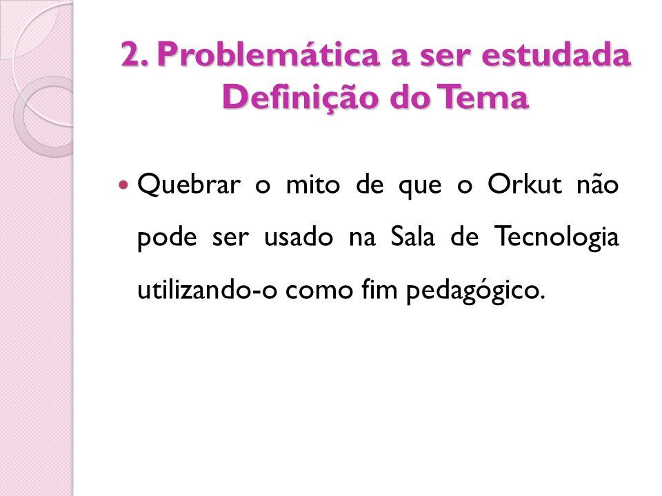 2. Problemática a ser estudada Definição do Tema
