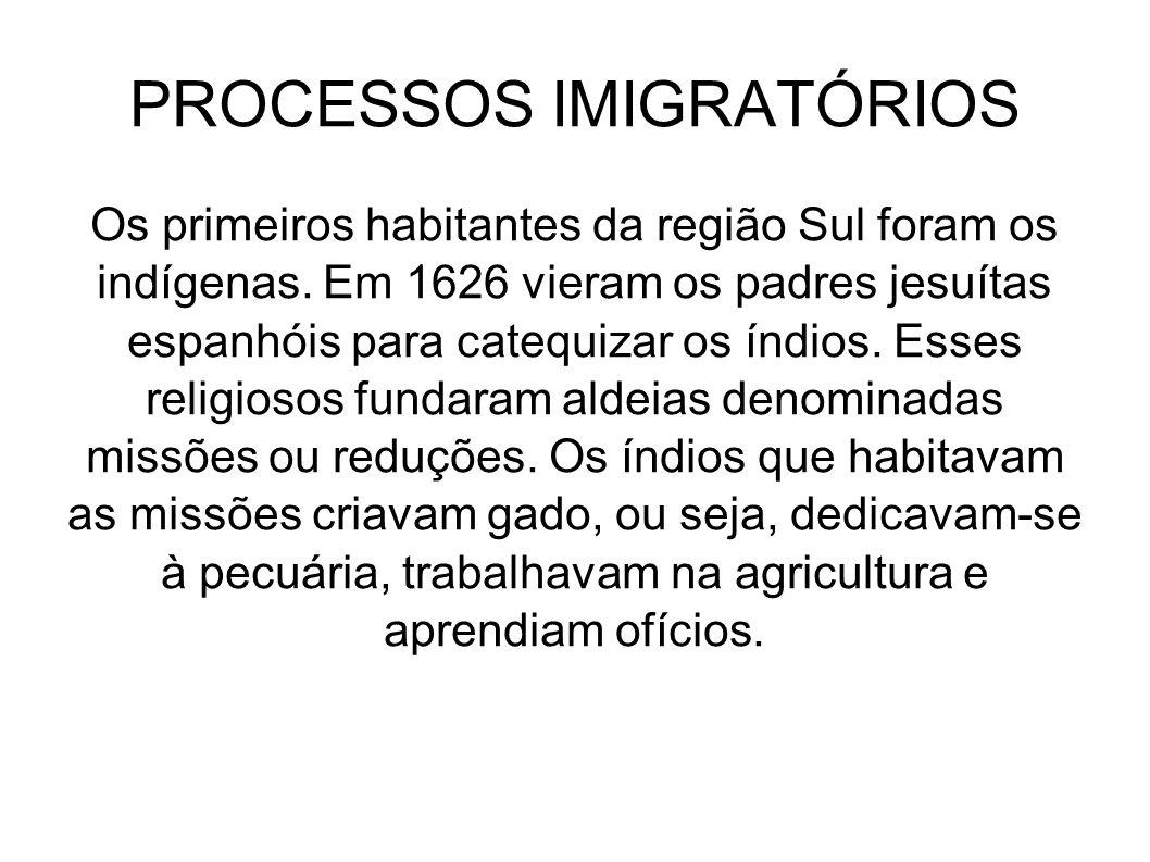 PROCESSOS IMIGRATÓRIOS